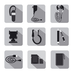 mobile accessories icon set