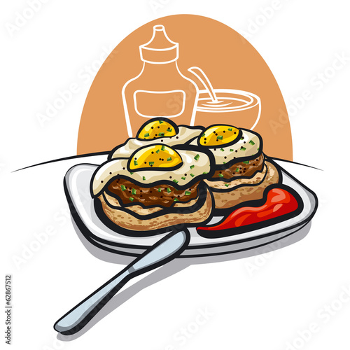 burgers with fried eggs