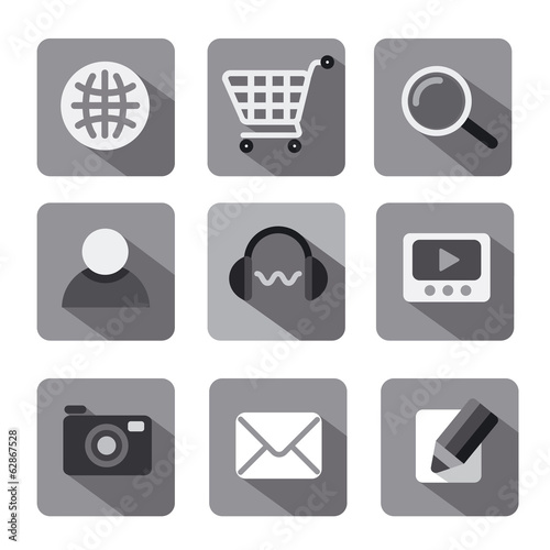 web icon set flat gray
