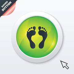 Human footprint sign icon. Barefoot symbol.