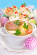 easter white borscht with egg and sausage