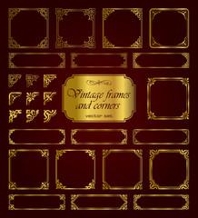 Golden vintage frames and corners - set 2