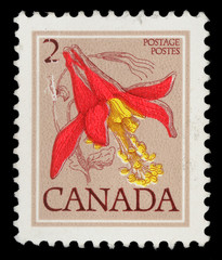 Stamp printed in Canada shows Flower: Red columbine