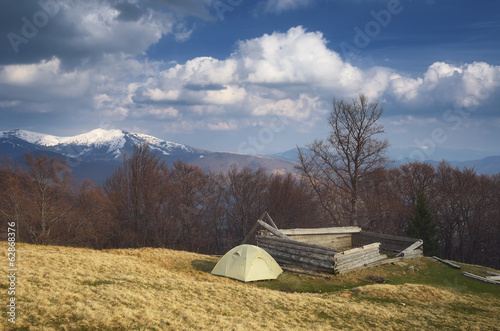 Camping in the mountains in spring