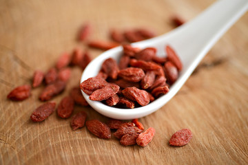 Dried goji berries. vitamin C fruit.