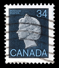 Stamp printed by Canada, shows Queen Elizabeth II, circa 1979