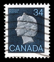 Stamp printed by Canada, shows Queen Elizabeth II, circa 1979