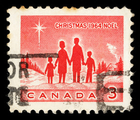 Stamp printed in Canada shows Family and Star of Bethlehem