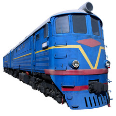 blue locomotive in perspective