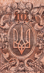 Coat of arms of Ukraine macro