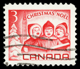 Christmas stamp printed in Canada, depicts Singing Children