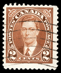 Stamp printed in Canada, shows King George VI, circa 1937