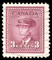 Stamp printed in the Canada shows King George VI