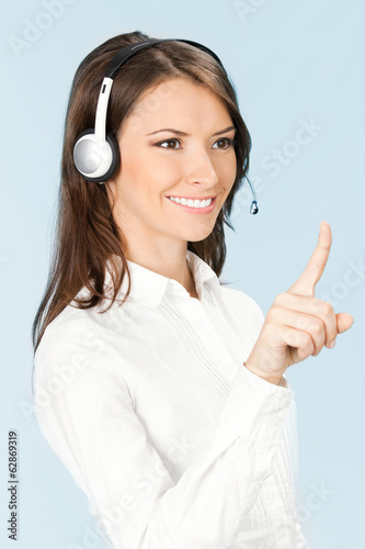 Support phone operator pointing, over blue