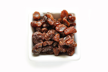 Raisins in a Square White Bowl