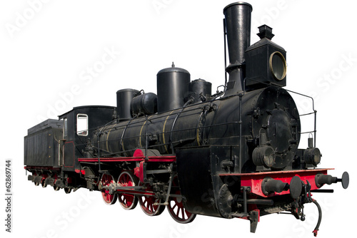 very old black locomotive