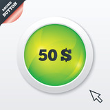 50 Dollars sign icon. USD currency symbol.