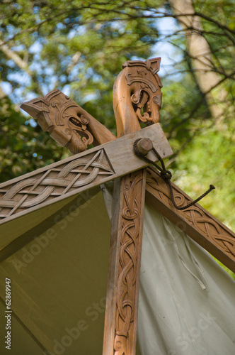 The small wooden detail of a viking tent
