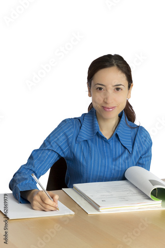 Young business woman working at the office