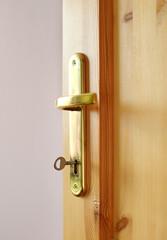 Detail of wooden door and door handle
