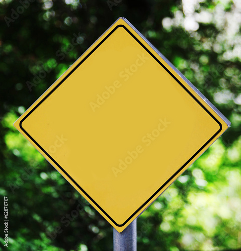Empty yellow road sign outdoor