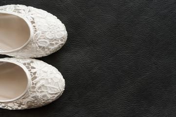 Beautiful white lace bridal shoes