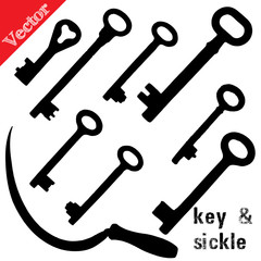 Set of silhouettes old keys and sickle, isolated on white