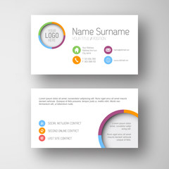 Modern white business card template with flat user interface