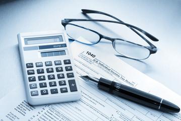 , Calculator, Pen and Glasses