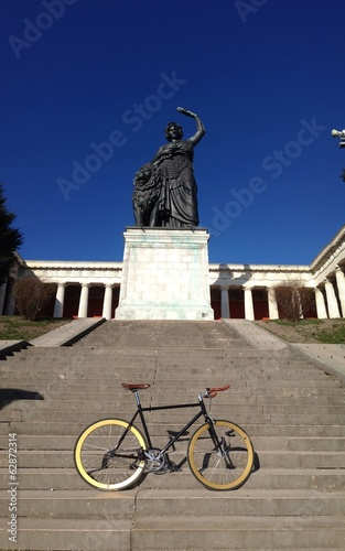 bicycle in front of Bavaria statue