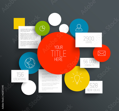 Vector dark abstract circles and squares infographic template