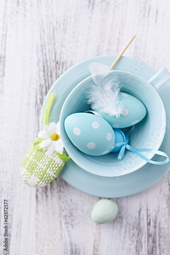 Blue Easter Eggs in a Tea Cup