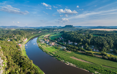 Elbe River at Elbe Sandstone Mountains