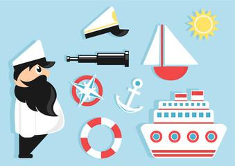 sailing cartoon icons