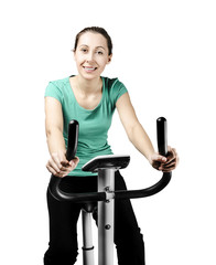 Training on bike exerciser