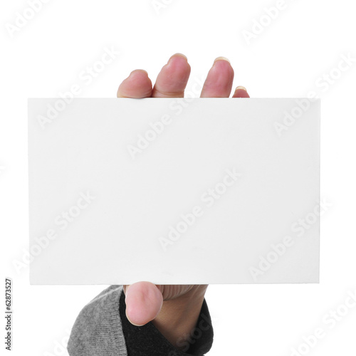 woman hand showing a blank signboard