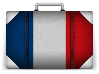 France Travel Luggage with Flag for Vacation