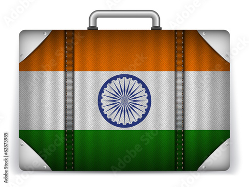India Travel Luggage with Flag for Vacation