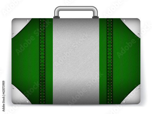 Nigeria Travel Luggage with Flag for Vacation