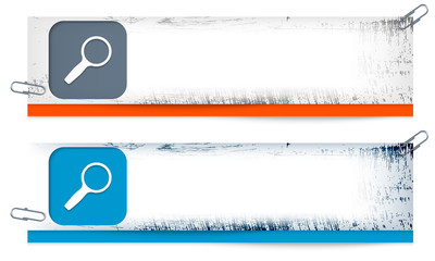 set of two dirty banners with magnifier