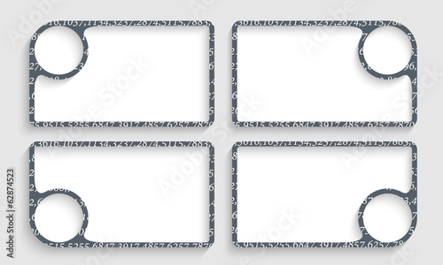 set of text frames with the texture of the numbers