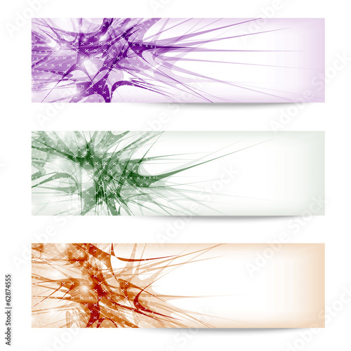 set three colored abstract banner with texture