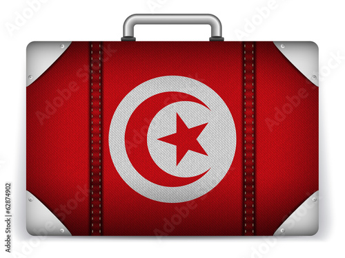 Tunisia Travel Luggage with Flag for Vacation