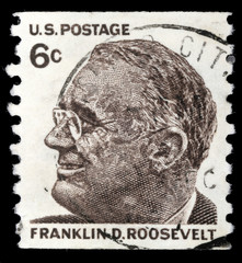 Stamp printed in USA shows Franklin Roosevelt, circa 1966