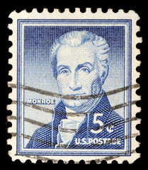 Stamp printed in US shows James Monroe, circa 1954