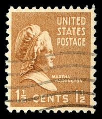Stamp shows portrait Martha Washington, circa 1938