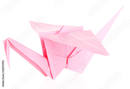Origami crane, isolated on white