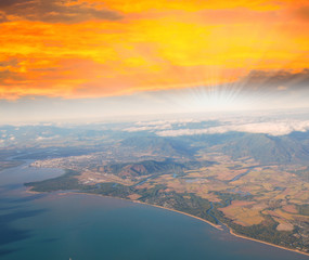 Dramatic sunset sky over Queensland Coast