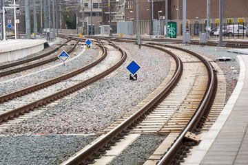 Railway tracks at the train station