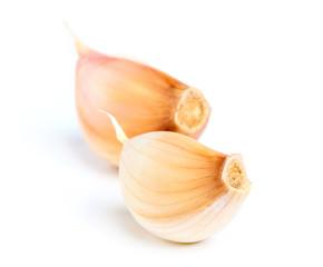 Two cloves of garlic closeup.
